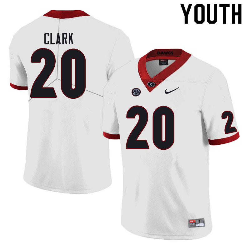 Youth #20 Sevaughn Clark Georgia Bulldogs College Football Jerseys Sale-White