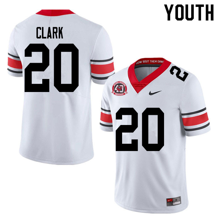 2020 Youth #20 Sevaughn Clark Georgia Bulldogs 1980 National Champions 40th Anniversary College Foot