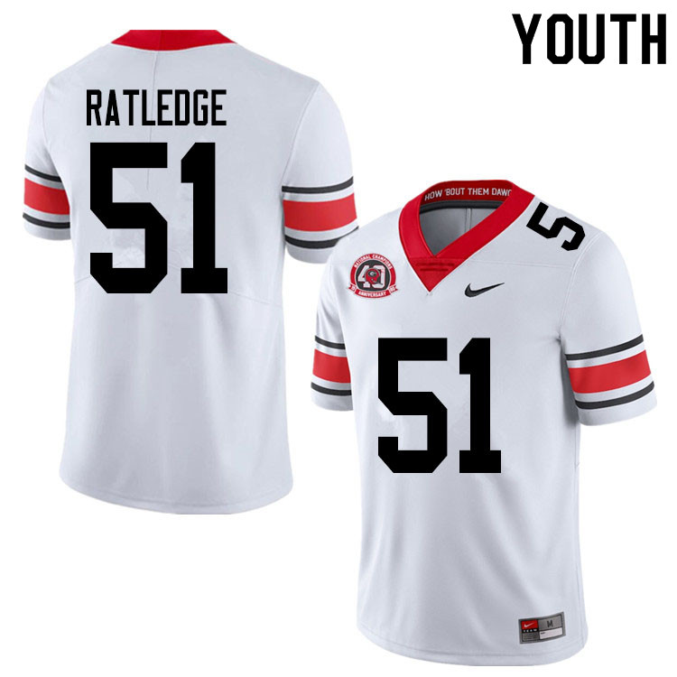2020 Youth #51 Tate Ratledge Georgia Bulldogs 1980 National Champions 40th Anniversary College Footb