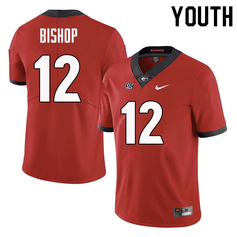 Youth Georgia Bulldogs #12 Tray Bishop College Football Jerseys Sale-Red