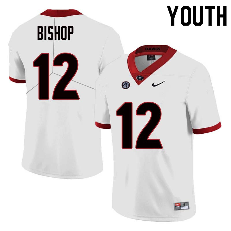Youth Georgia Bulldogs #12 Tray Bishop College Football Jerseys Sale-White