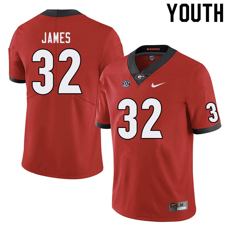 Youth #32 Ty James Georgia Bulldogs College Football Jerseys Sale-Red