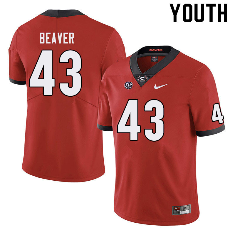 Youth #43 Tyler Beaver Georgia Bulldogs College Football Jerseys Sale-Red