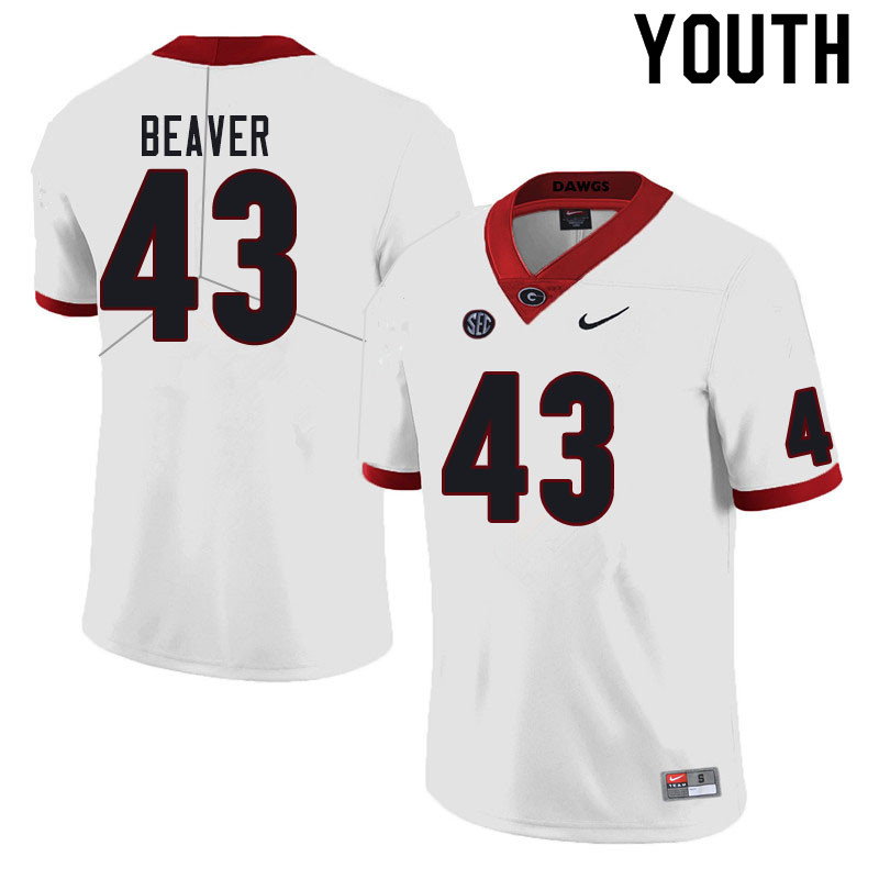 Youth #43 Tyler Beaver Georgia Bulldogs College Football Jerseys Sale-White