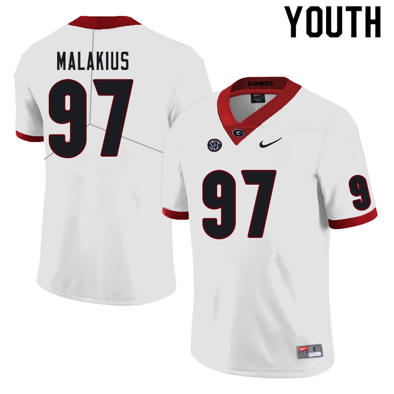 Youth #97 Tyler Malakius Georgia Bulldogs College Football Jerseys Sale-White