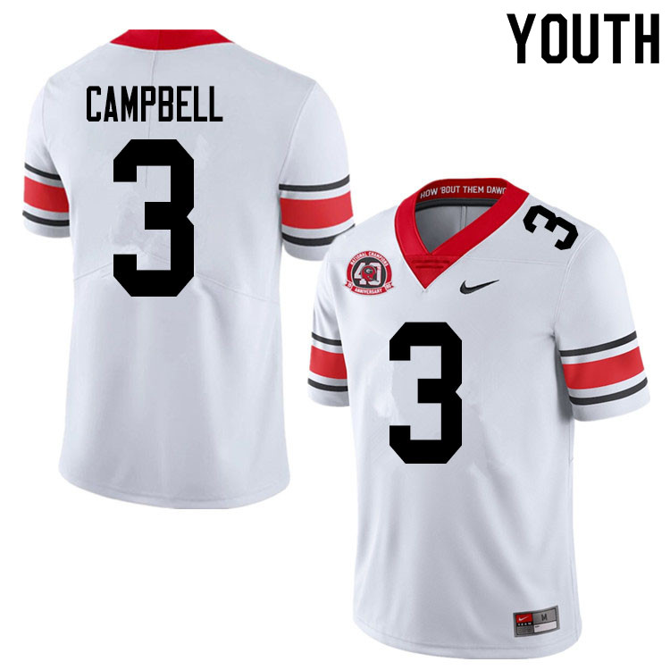 2020 Youth #3 Tyson Campbell Georgia Bulldogs 1980 National Champions 40th Anniversary College Footb