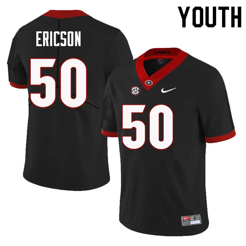 Youth Georgia Bulldogs #50 Warren Ericson College Football Jerseys Sale-Black