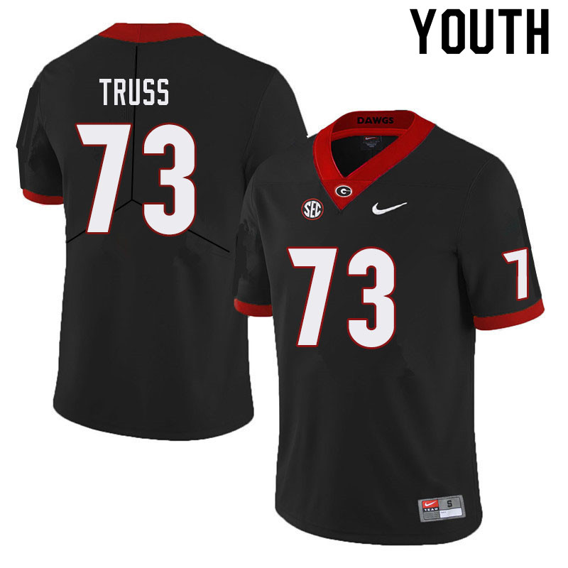 Youth #73 Xavier Truss Georgia Bulldogs College Football Jerseys Sale-Black