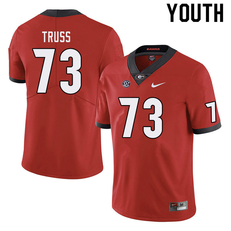 Youth #73 Xavier Truss Georgia Bulldogs College Football Jerseys Sale-Red
