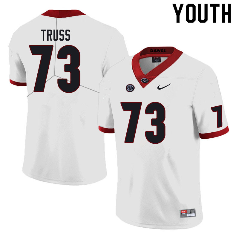 Youth #73 Xavier Truss Georgia Bulldogs College Football Jerseys Sale-White