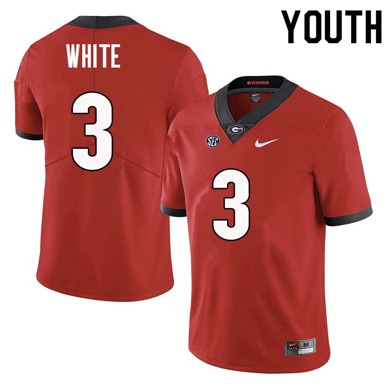 Youth Georgia Bulldogs #3 Zamir White College Football Jerseys Sale-Red