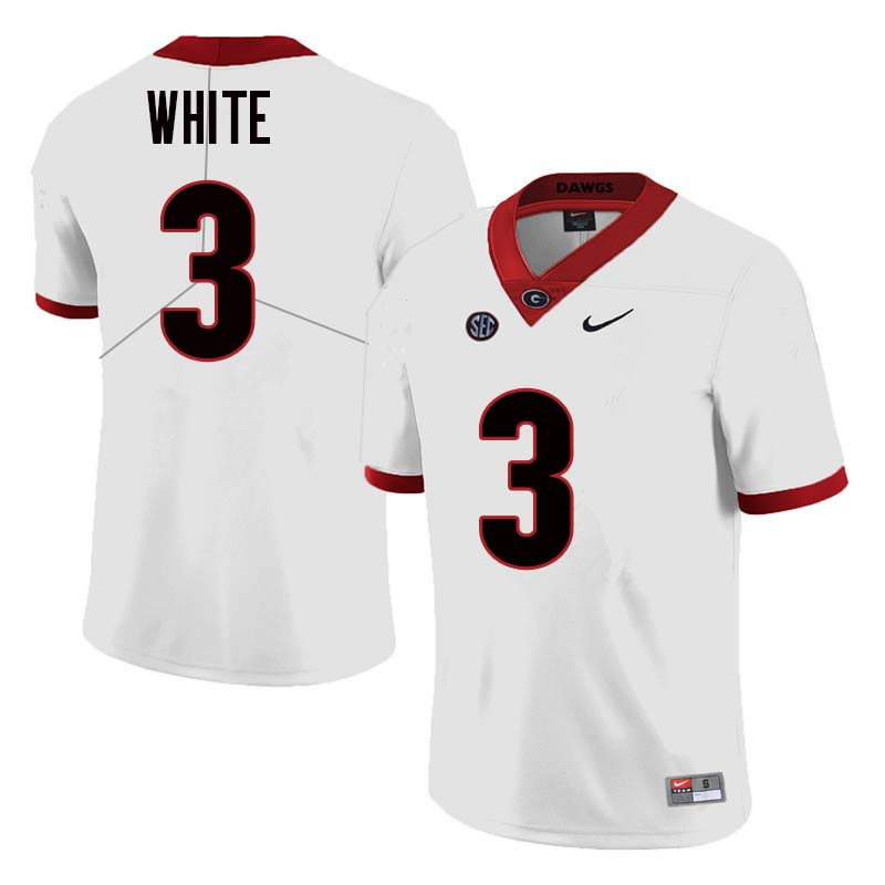 Men Georgia Bulldogs #3 Zamir White College Football Jerseys Sale-White